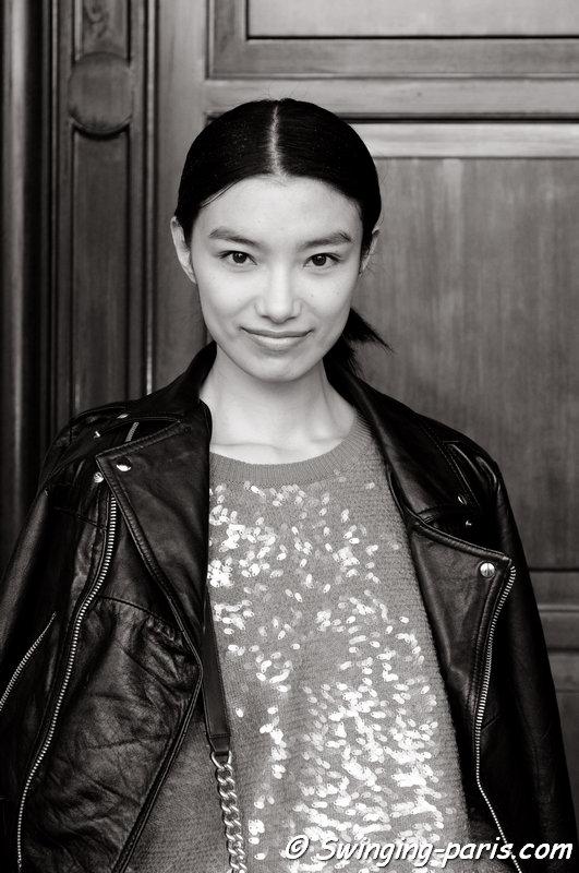 Sissi Hou (Meng Die Hou) outside Junko Shimada show, Paris F/W 2014 RtW Fashion Week, March 2014