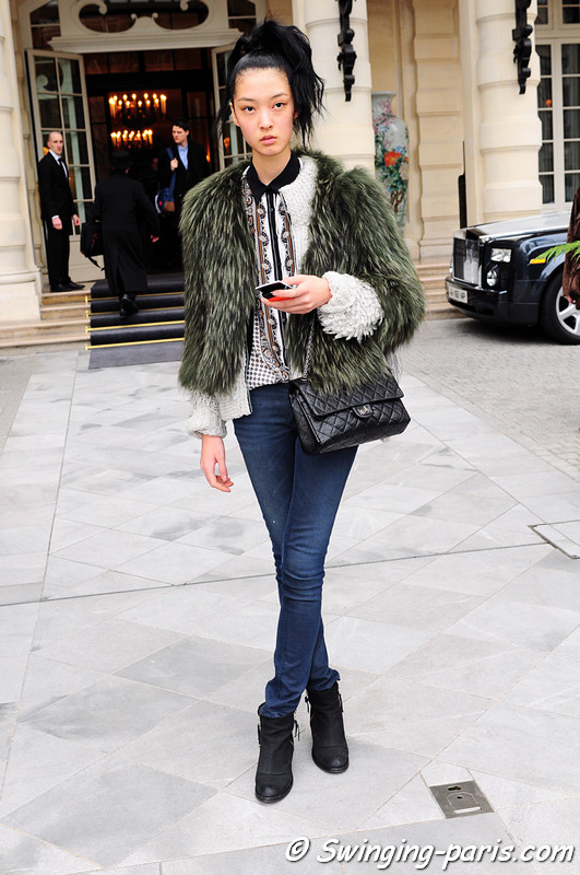 So Young Kang (강소영) leaving Alexis Mabille show, Paris Haute Couture S/S 2012 Fashion Week, January 2012