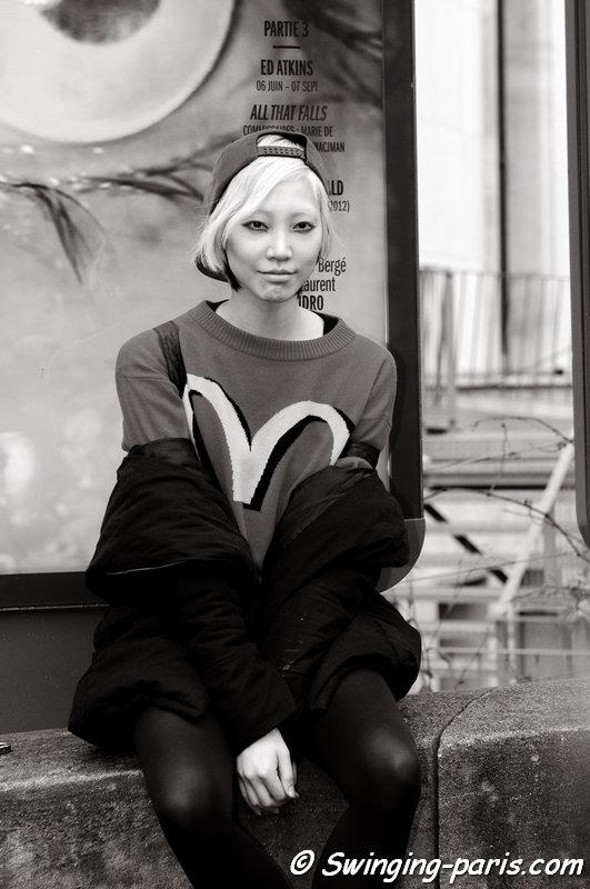 Soo Joo Park (수주 박) leaving Léonard show, Paris F/W 2014 RtW Fashion Week, March 2014