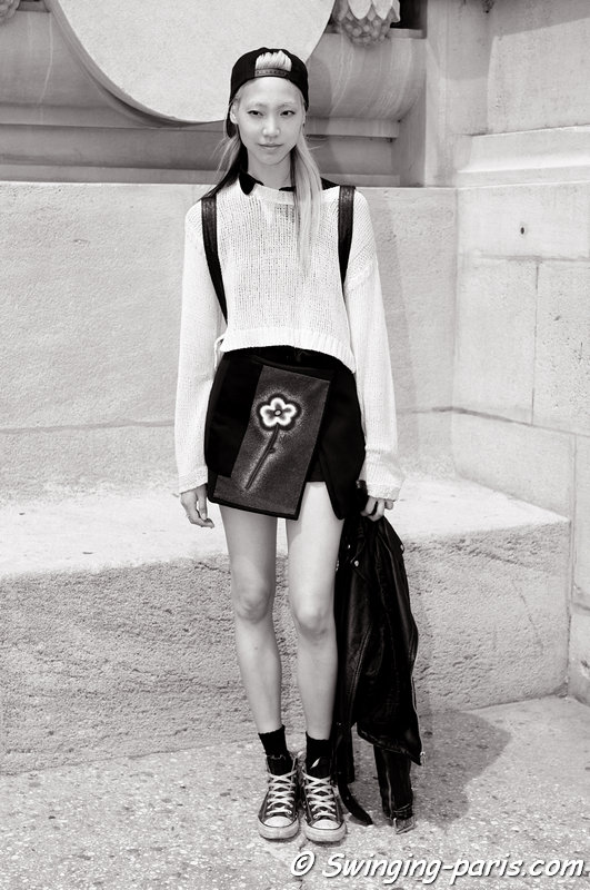 Soo Joo Park (수주 박) leaving Chanel show, Paris Haute Couture F/W 2013 Fashion Week, July 2013