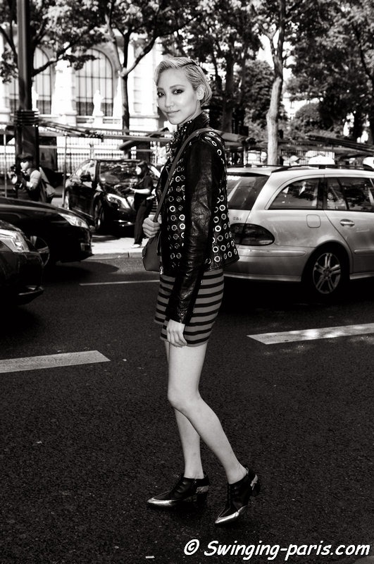 Soo Joo Park (수주 박) leaving Ulyana Sergeenko show, Paris Haute Couture F/W 2014 Fashion Week, July 2014