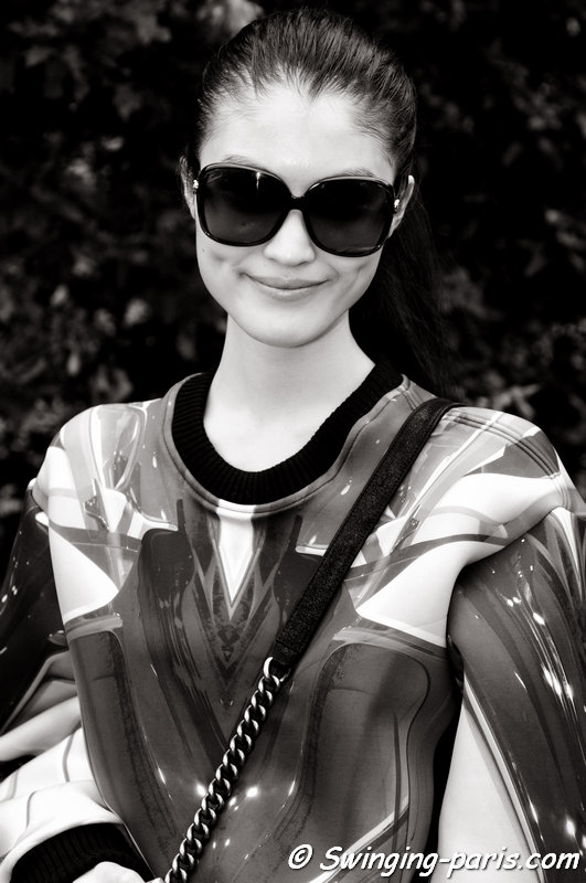 Sui He (何穗) leaving Chanel show, Paris S/S 2014 RtW Fashion Week, October 2013