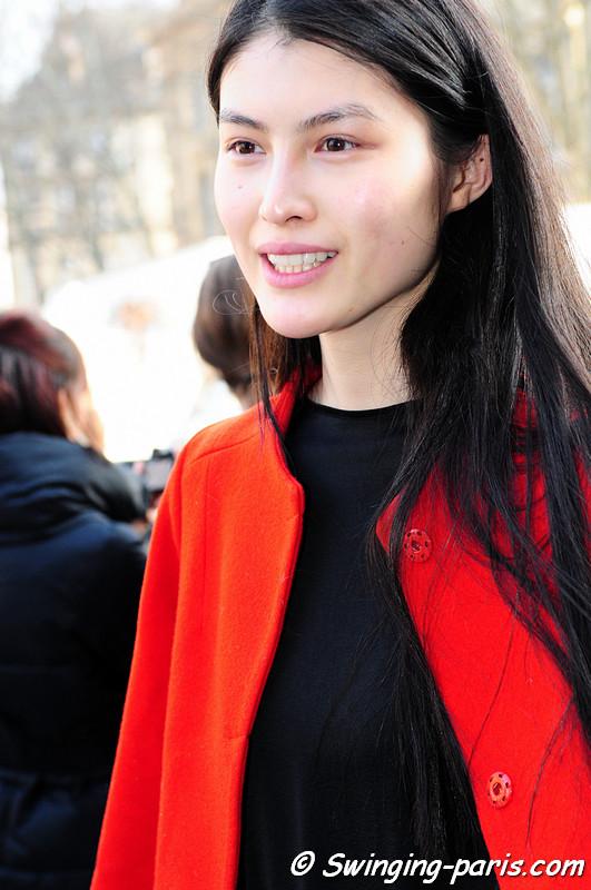 Sui He exiting Dries van Noten show, Paris Fashion Week, March 2011