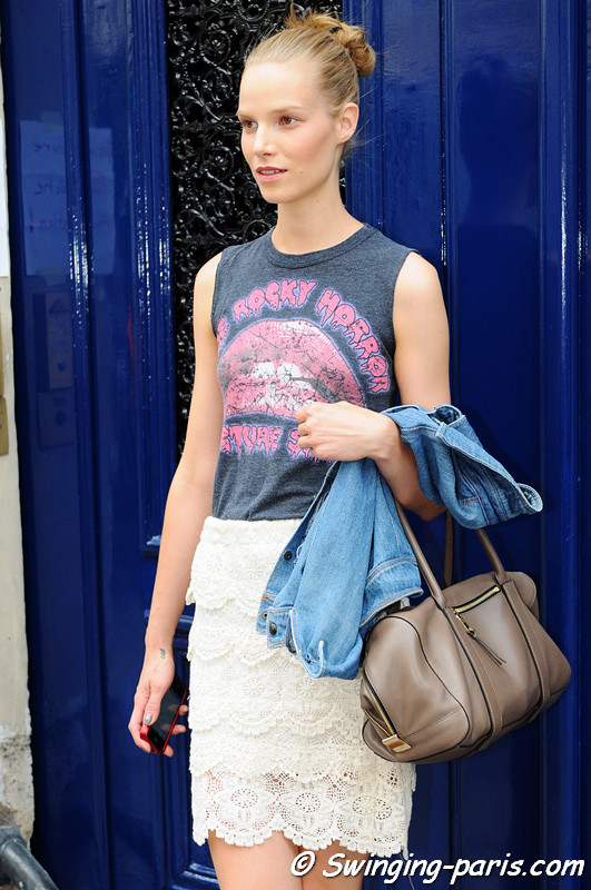 Suvi Koponen outside Valentino show, Paris Haute Couture F/W 2012 Fashion Week, July 2012