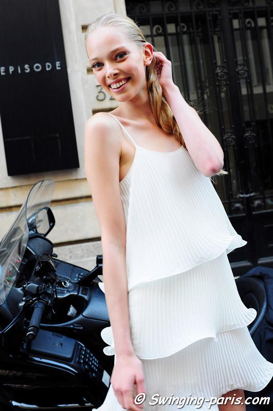 Tanya Dziahileva exiting Giambattista valli show, Paris Haute Couture F/W Fashion Week, July 2011