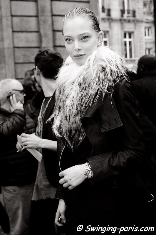 Tanya Dziahileva ( -  - ) leaving Maison Martin Margiela show, Paris F/W RtW 2012 Fashion Week, March 2012