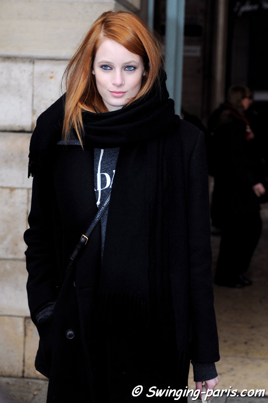 Thairine Garcia leaving Roland Mouret show, Paris F/W 2014 RtW Fashion Week, February 2014