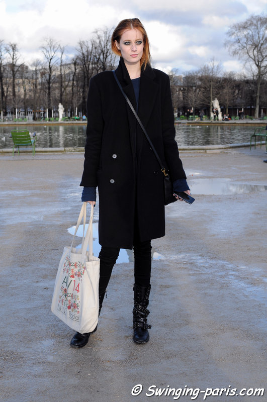 Thairine Garcia outside Elie Saab show, Paris F/W 2014 RtW Fashion Week, March 2014