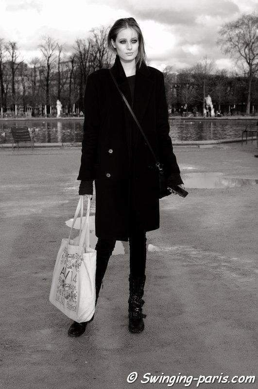 Thairine Garcia outside Elie Saab show, Paris F/W 2014 RtW Fashion Week, March 2014