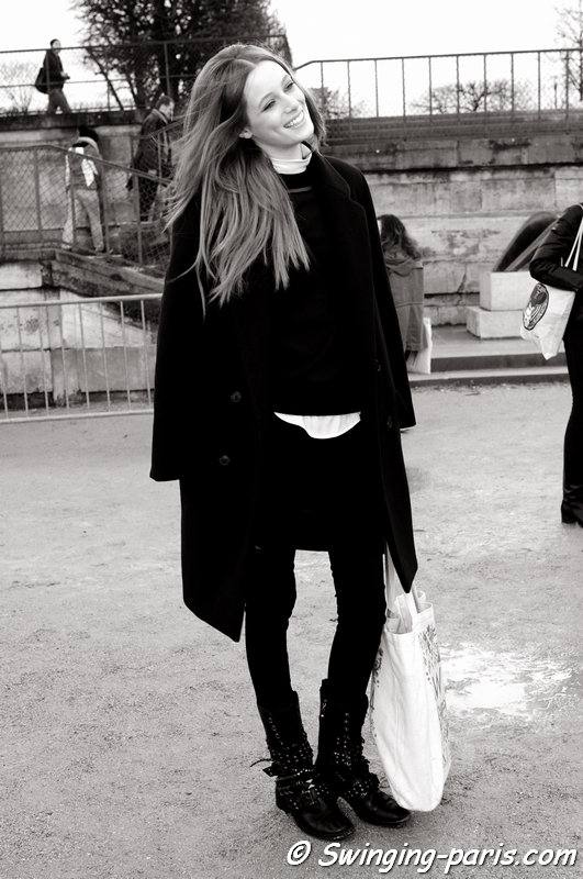 Thairine Garcia leaving Nina Ricci show, Paris F/W 2014 RtW Fashion Week, February 2014