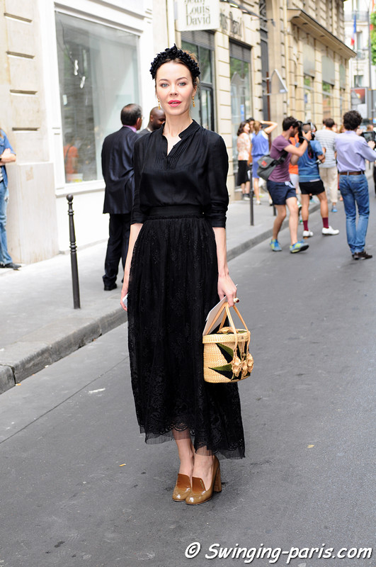 Ulyana Sergeenko (Ульяна Сергеенко) leaving Elie Saab show, Paris Haute Couture F/W 2012 Fashion Week, July 2012