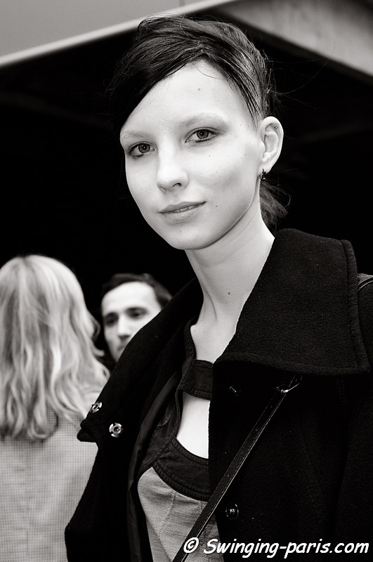 Uliana Tikhova outside Felipe Oliveira Baptista show, Paris September 2010