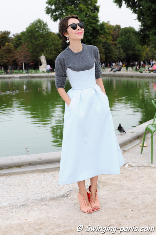 Ulyana Sergeenko (Ульяна Сергеенко) leaving Valentino show, Paris S/S 2014 RtW Fashion Week, October 2013