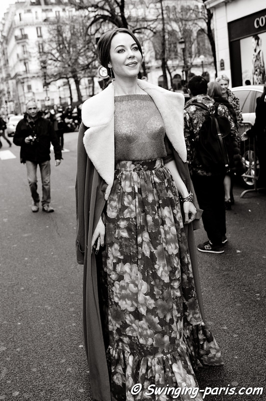 Ulyana Sergeenko ( ) exiting Jean Paul Gaultier show, Paris Haute Couture S/S 2012 Fashion Week, January 2012