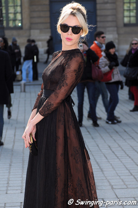 Ulyana Sergeenko (Ульяна Сергеенко) outside Giambattista Valli show, Paris F/W 2013 RtW Fashion Week, March 2013