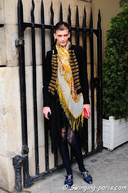 Valerija Kelava outside Balenciaga show, Paris, September 2010