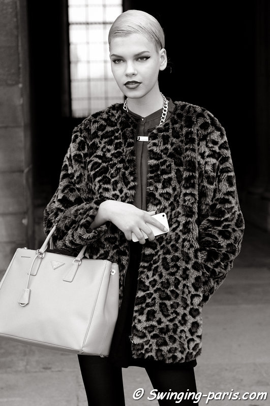 Valerija Sestic leaving Louis Vuitton show, Paris F/W 2013 RtW Fashion Week, March 2013