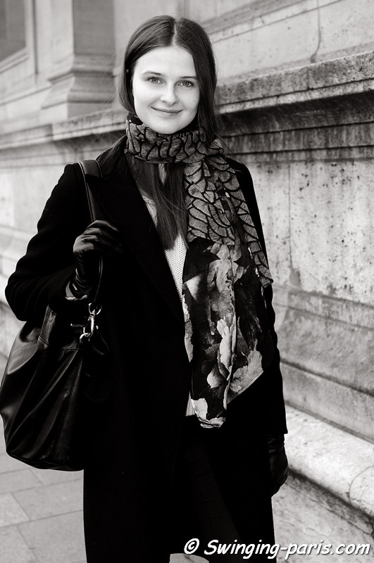 Vasilisa Pavlova (Василиса Павлова) leaving Arzu Kaprol show, Paris F/W RtW 2012 Fashion Week, March 2012