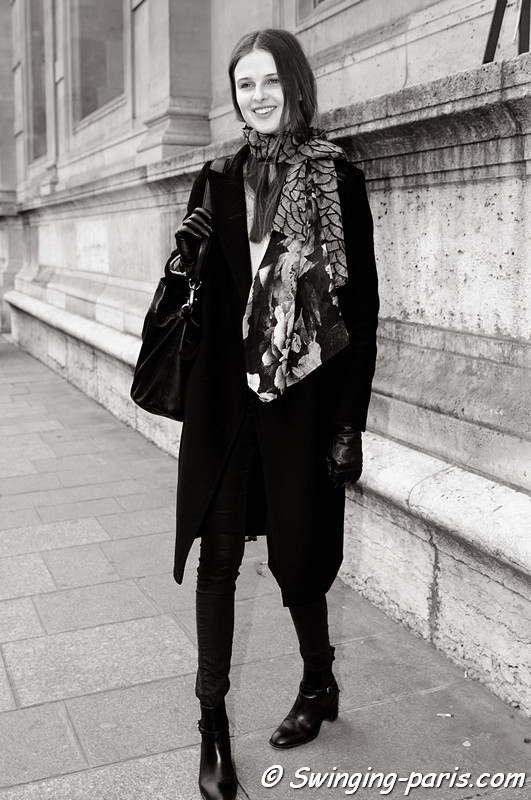Vasilisa Pavlova ( ) leaving Arzu Kaprol show, Paris F/W RtW 2012 Fashion Week, March 2012