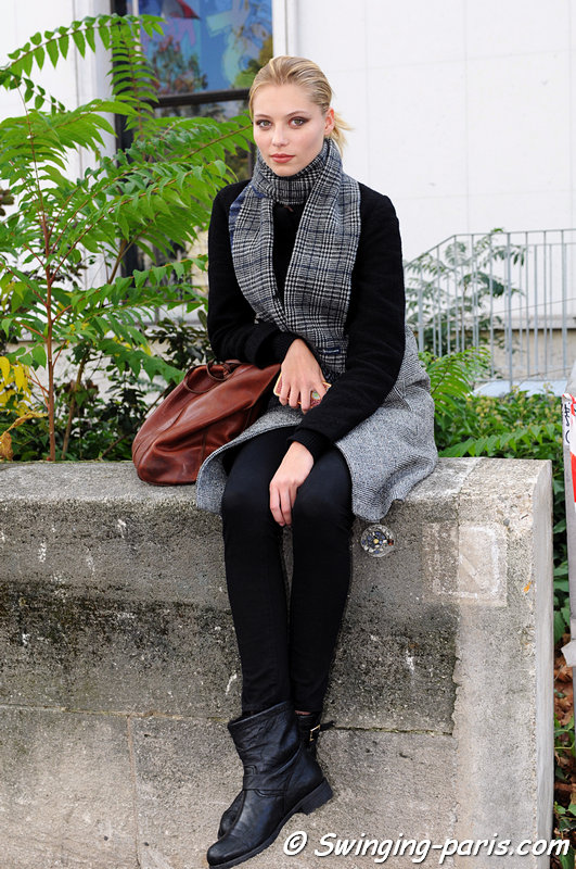 Vika Falileeva ( ) leaving Anne Valrie Hash show, Paris S/S 2013 RtW Fashion Week, September 2012