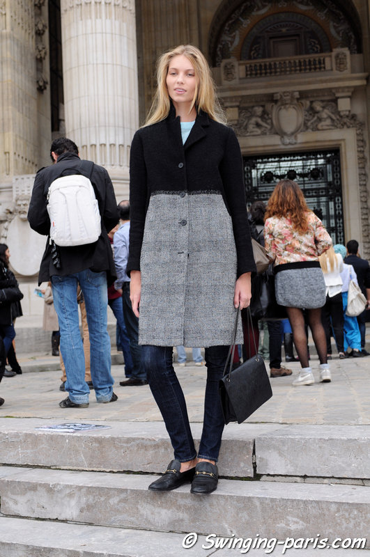 Vika Falileeva (Вика Фалилеева) leaving Léonard show, Paris S/S 2014 RtW Fashion Week, September 2013