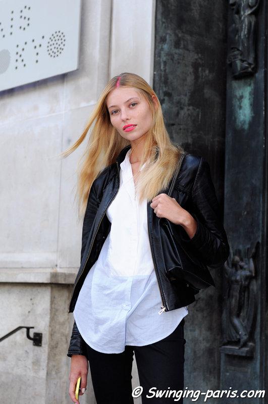 Vika Falileeva (Вика Фалилеева) outside Manish Arora show, Paris S/S 2015 RtW Fashion Week, September 2014
