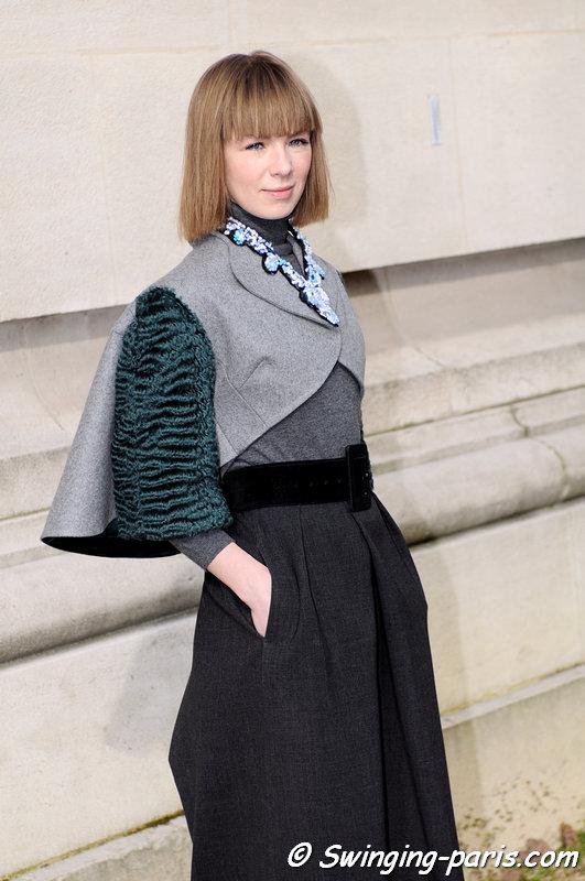 Vika Gazinskaya (Вика Газинская) before Chanel show, Paris F/W 2013 RtW Fashion Week, March 2013