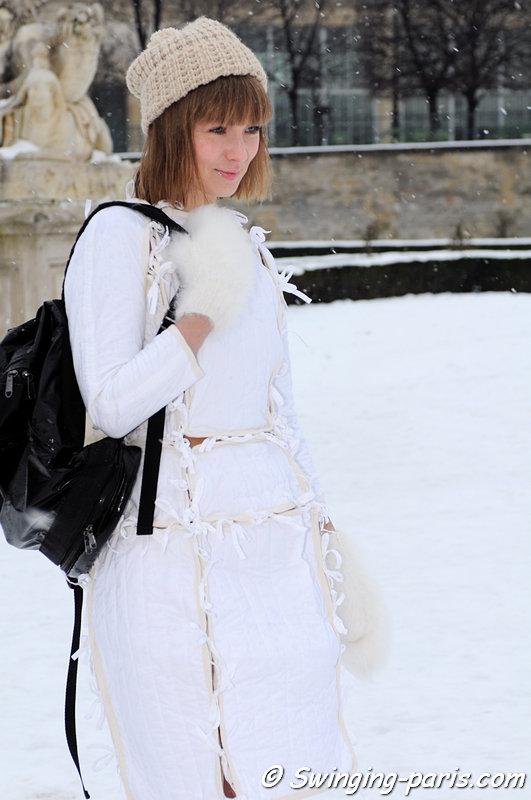 Vika Gazinskaya (Вика Газинская) leaving Christian Dior show, Paris Haute Couture S/S 2013 Fashion Week, January 2013
