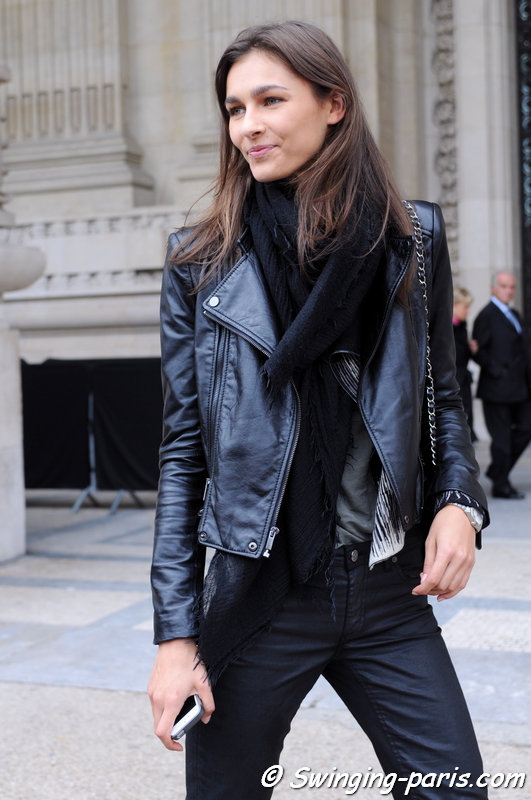 Vika Volkute leaving Léonard show, Paris S/S 2014 RtW Fashion Week, September 2013