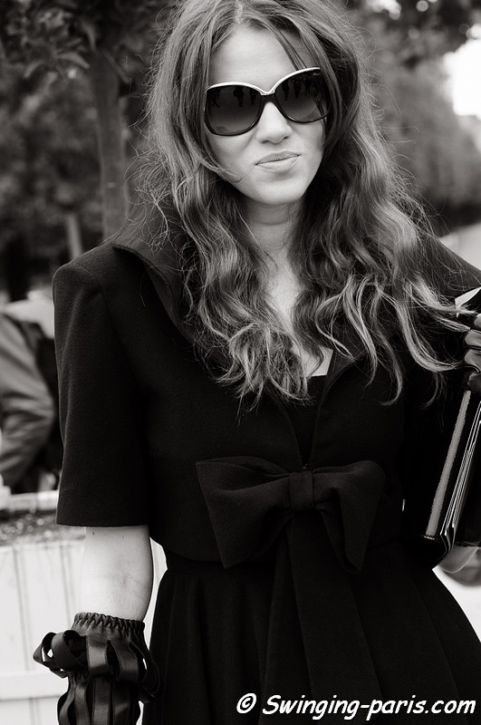 Woman outside Elie Saab show, Paris October 2010