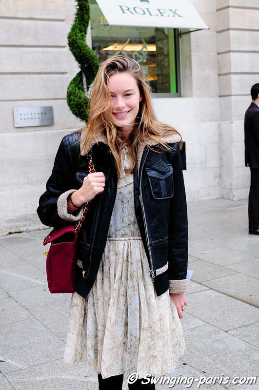 Young woman before Giambattista Valli show, Paris October 2010