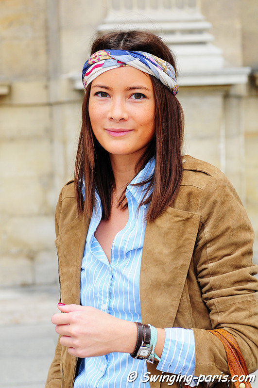 Young woman outside Louis Vuitton show, Paris October 2010
