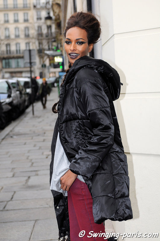 Yasmin Warsame exiting Jean Paul Gaultier show, Paris Haute Couture S/S 2013 Fashion Week, January 2013