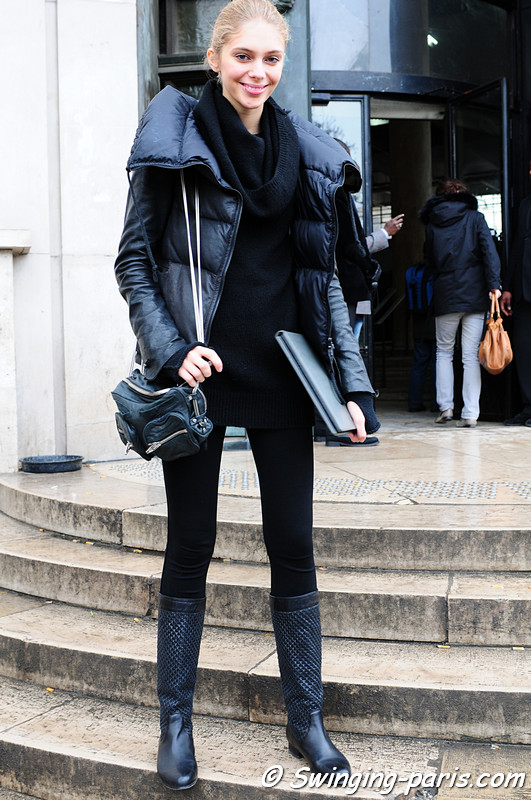 Yasmina Muratovich outside Christophe Josse show, Paris January 2011