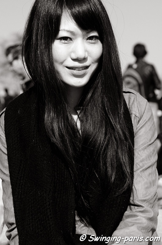 A young woman outside Amaya Arzuaga show, Paris Fashion Week, March 2011