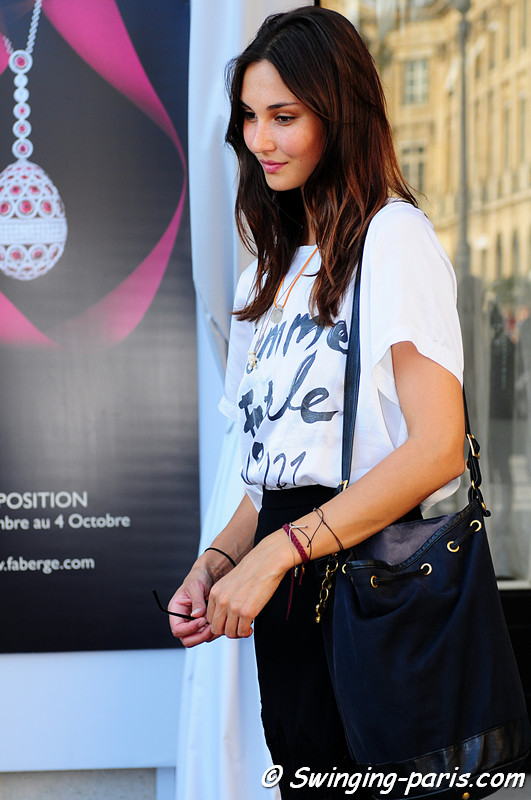 A young woman after Barbara Bui show, Paris S/S 2012 Fashion Week, September 2011