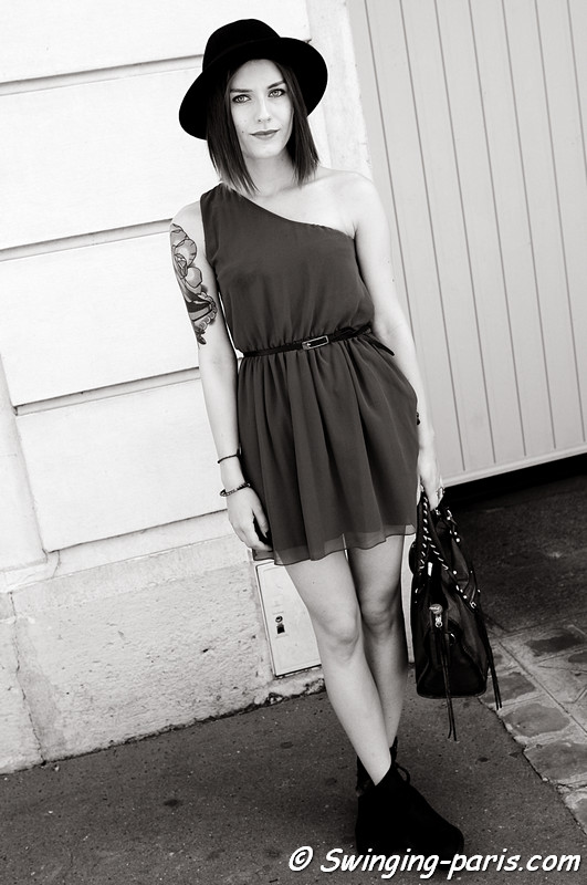 A young woman before Christian Dior show, Paris S/S 2012 Fashion Week, September 2011