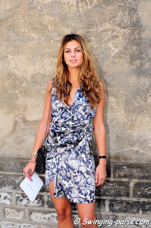 A young woman leaving Christophe Josse show, Paris Haute Couture F/W Fashion Week, July 2011