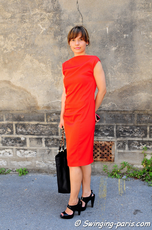 A young woman outside Maison Rabih Kayrouz show Paris Haute Couture F/W Fashion Week, July 2011