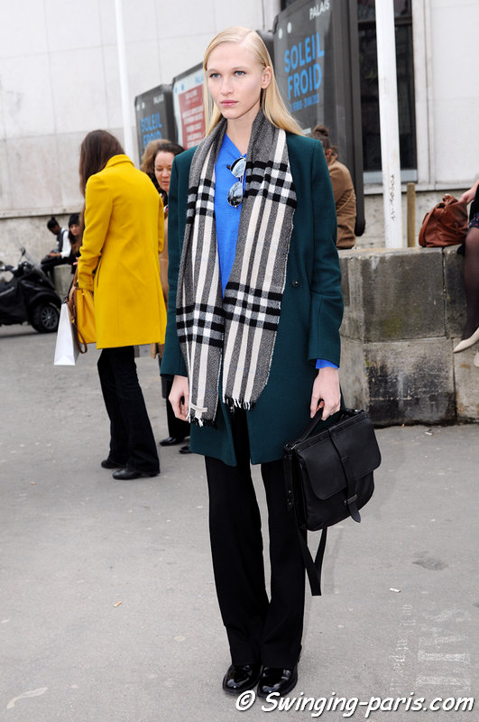 Yulia Lobova (Юлия Лобова) leaving Allude show, Paris F/W 2013 RtW Fashion Week, March 2013