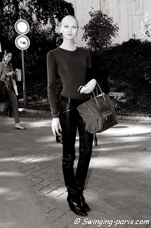 Yulia Lobova ( ) exiting Damir Doma show, Paris S/S 2012 Fashion Week, September 2011