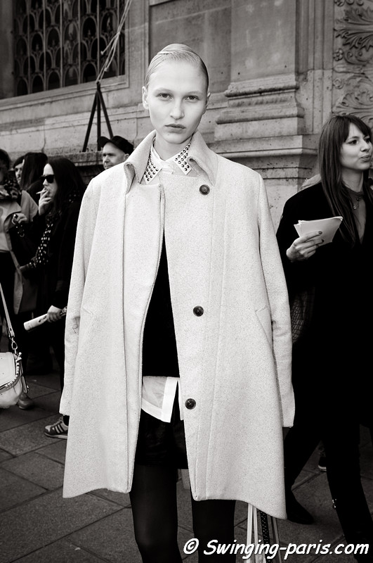 Yulia Lobova (Юлия Лобова) exiting Damir Doma show, Paris F/W RtW 2012 Fashion Week, February 2012
