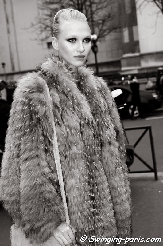 Yulia Lobova (Юлия Лобова) outside Stéphane Rolland show, Paris Haute Couture S/S 2014 Fashion Week, January 2014