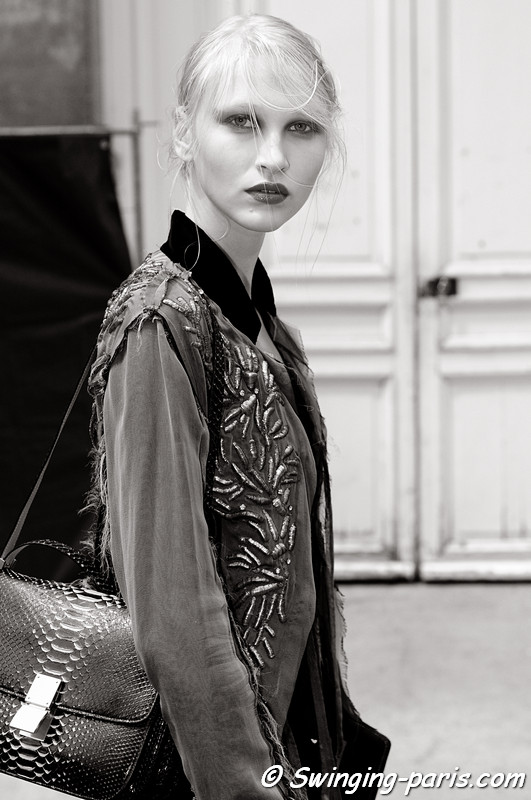 Yulia Lobova (Юлия Лобова) leaving Basil Soda show, Paris Haute Couture F/W 2012 Fashion Week, July 2012