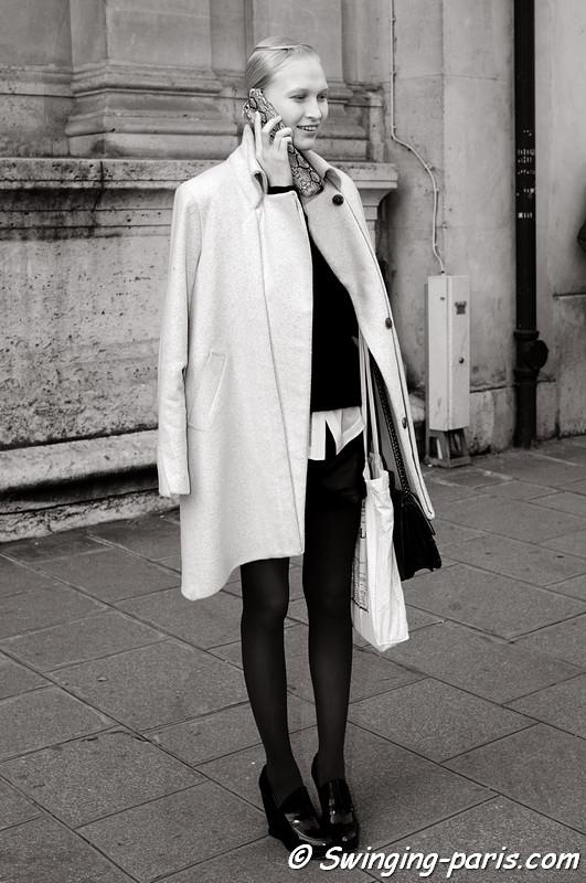 Yulia Lobova (Юлия Лобова) exiting Damir Doma show, Paris F/W RtW 2012 Fashion Week, February 2012