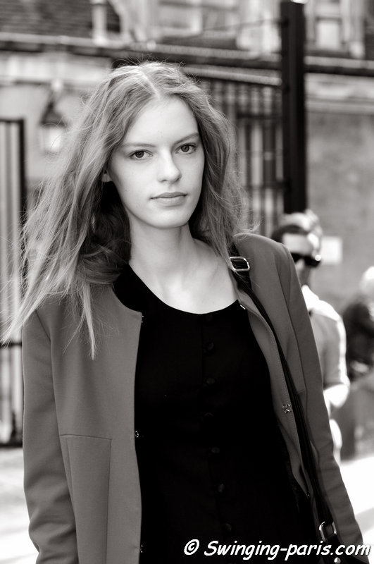 Yulia Polieva leaving Ann Demeulemeester show, Paris S/S 2015 RtW Fashion Week, September 2014