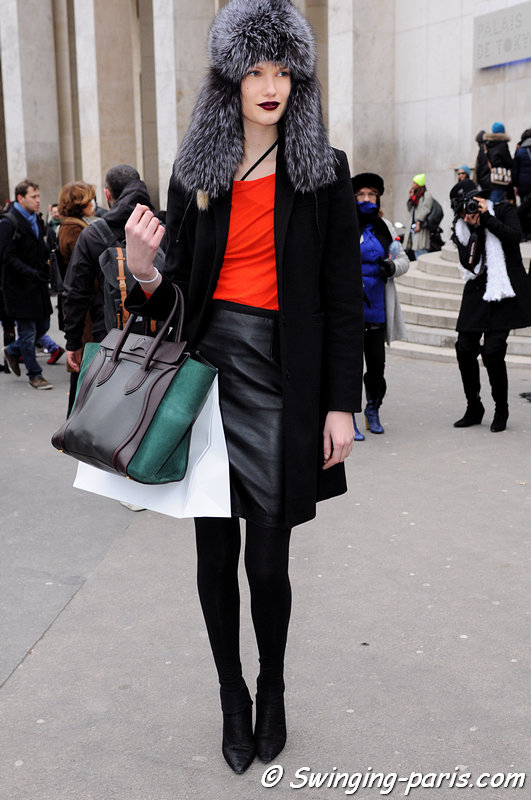 Yulia Terentieva (Юлия Терентьева) outside Véronique Branquinho show, Paris F/W 2013 RtW Fashion Week, February 2013