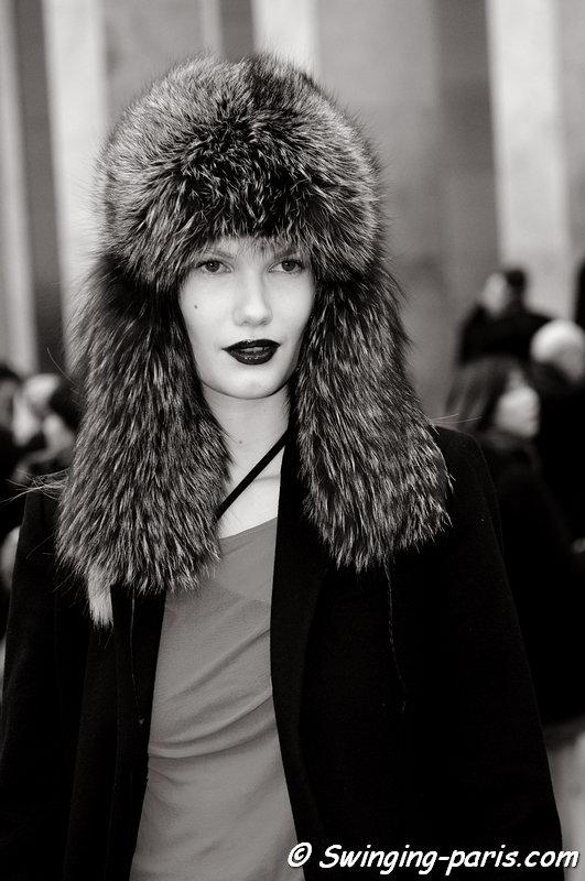 Yulia Terentieva (Юлия Терентьева) outside Véronique Branquinho show, Paris F/W 2013 RtW Fashion Week, February 2013