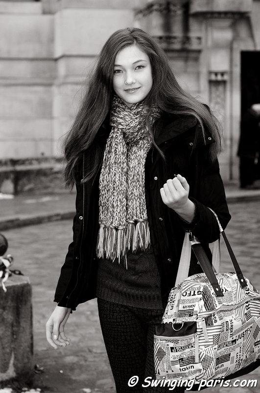 Yumi Lambert leaving Chanel show, Paris Haute Couture S/S 2013 Fashion Week, January 2013