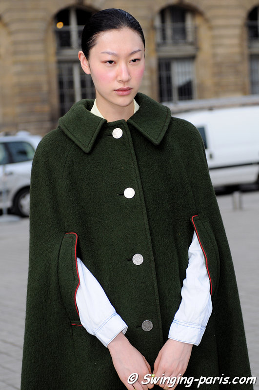 Zhang Shuyang leaving Moncler Gamme Rouge show, Paris F/W 2013 RtW Fashion Week, March 2013